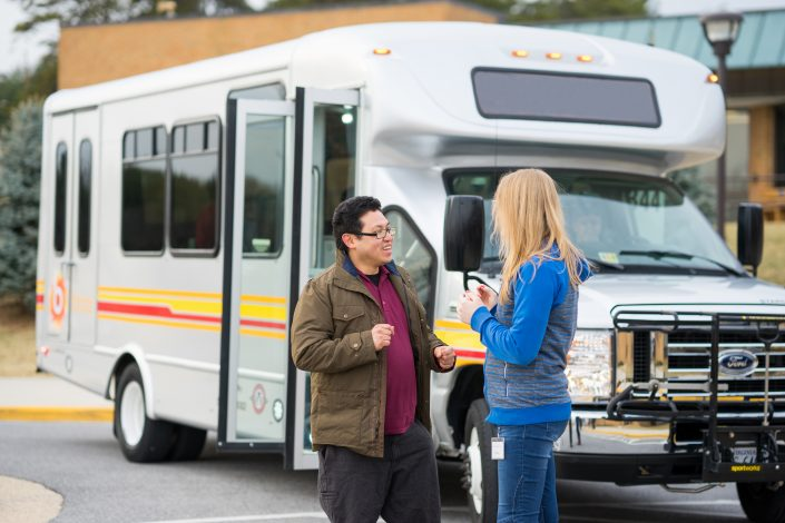 brite bus passengers talking to each other