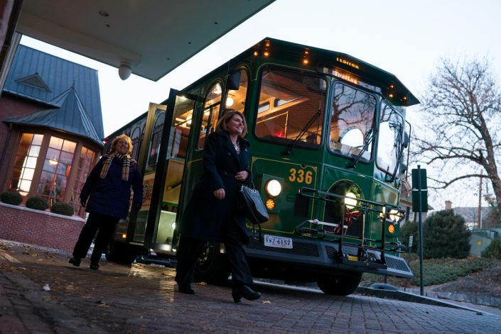 brite bus stop in downtown staunton