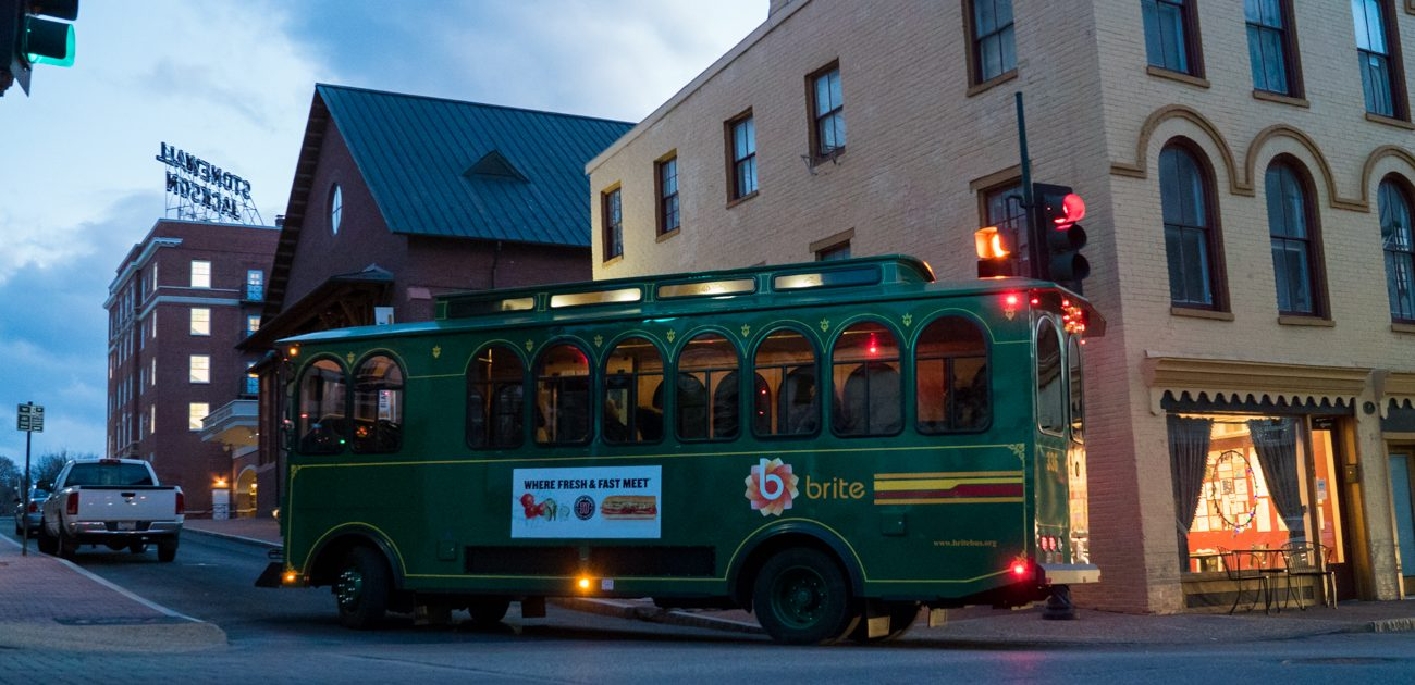 brite bus in downtown staunton