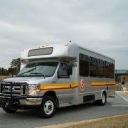 brite bus leaving a stop