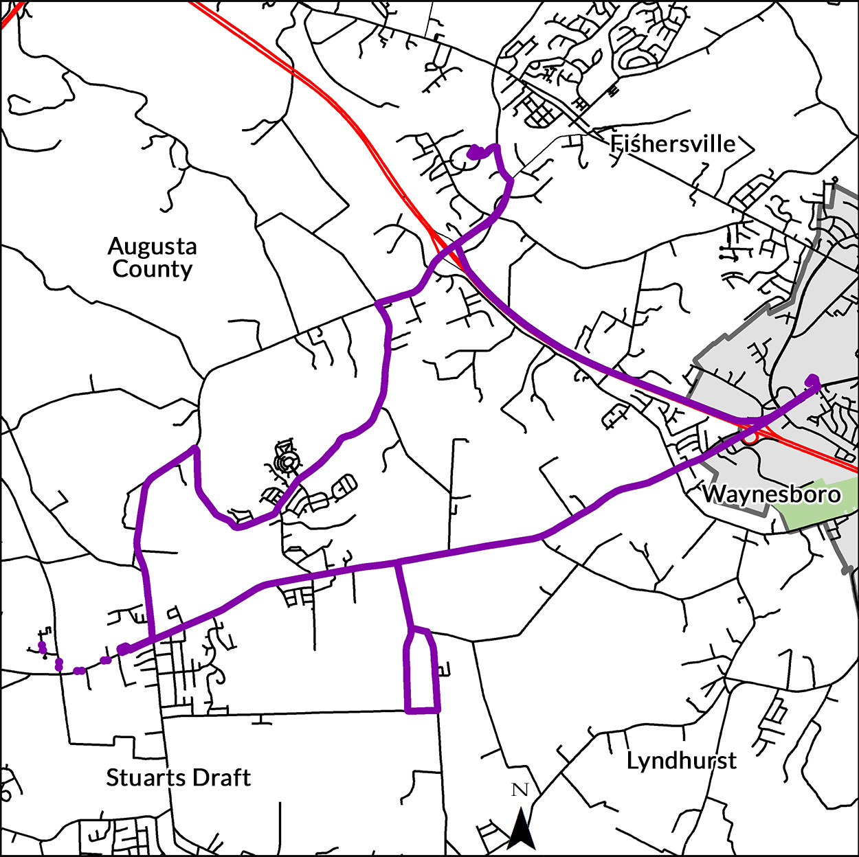 stuarts draft bus route map