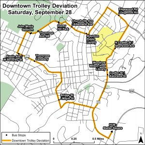Downtown Trolley Deviation for QCMM 9/28