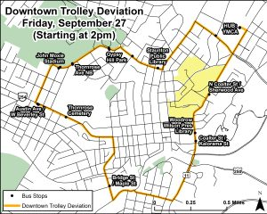 Downtown Trolley Deviation for QCMM 9/27
