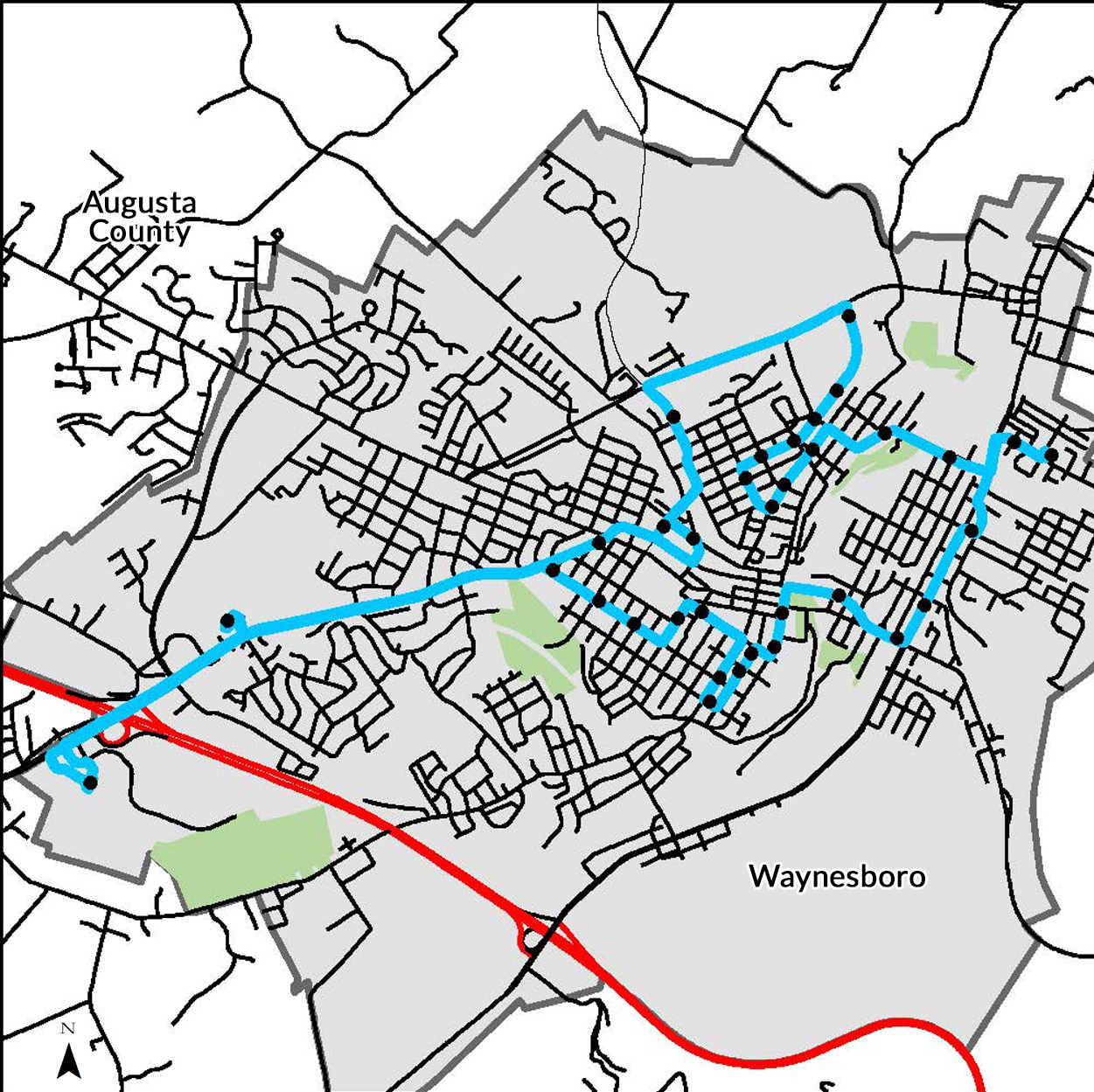Waynesboro circulator bus route